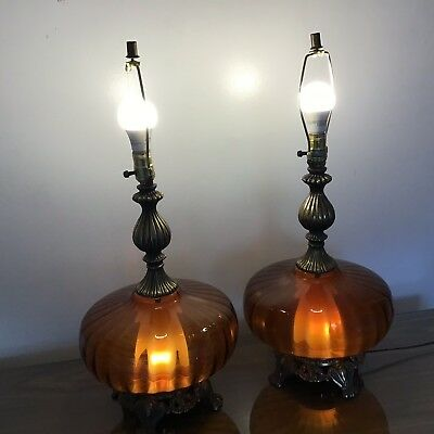 Atomic Mid Century Flying Saucer Spaceship Table Lamps Pair 1960s Retro Amber