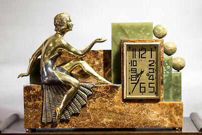 1930 Art Deco Mantel Clock  With Bronze  Sculpture Statue Figure Signed Kovatz