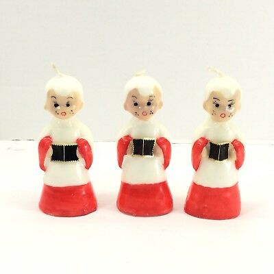 Vintage Gurley Christmas Candles Set  of 3 Choir Boy Children Singing Holiday