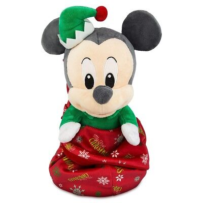 "Disney Parks Authentic Mickey Mouse ""my First Christmas"" Plush In Blanket Pouch"