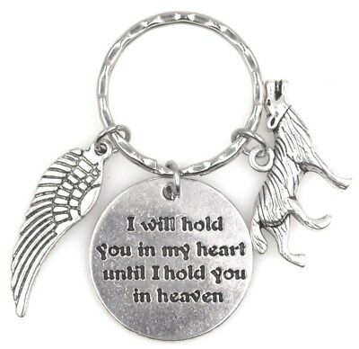 I Will Hold You in My Heart Until I Hold You in Heaven Angel Wing Wolf Keychain