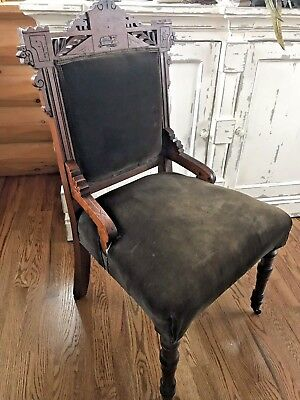 Antique Victorian Eastlake Carved Wood Upholestered Dark Brown Parlor Chair