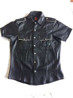 Rob Amsterdam Black Leather Police Shirt With White Piping Size Xxl