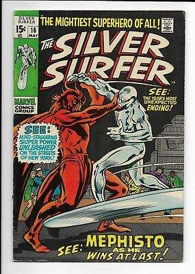 Silver Surfer #16 (Vol 1) : Fine 6.0 : Marvel Silver Age : Stan Lee : Cents Copy