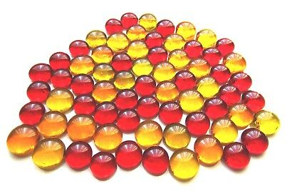 70 x Red, Orange & Yellow Art Glass Mosaic Artist Craft Pebble Mini Gem Stones