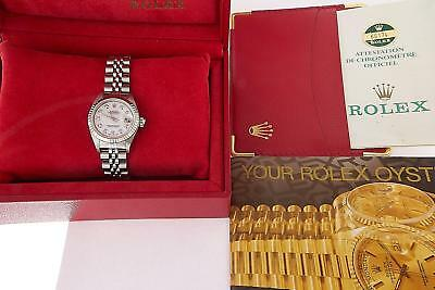 Rolex Datejust Ladies Stainless Steel Pearl Diamond Watch Automatic Box & Papers