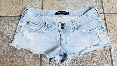 Girls Abercrombie Light Wash Destroyed Cut-off Jean Shorts Size 16