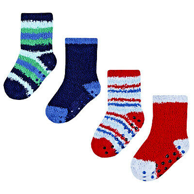 Baby Boys Cosy Slippers Socks Fluffy with Grippers Warm Blue & Red Stripe 4 Pair