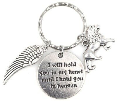 I Will Hold You in My Heart Until I Hold You in Heaven Angel Wing Lion Keychain