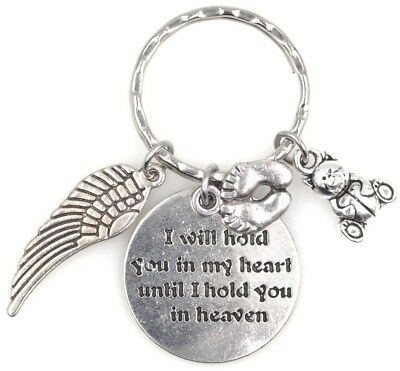 I Will Hold You in My Heart Angel Wing Baby Feet Teddy Bear Keychain