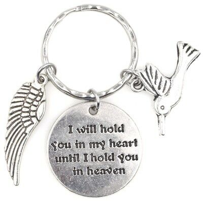 I Will Hold You in My Heart Until I Hold You in Heaven Wing Hummingbird Keychain