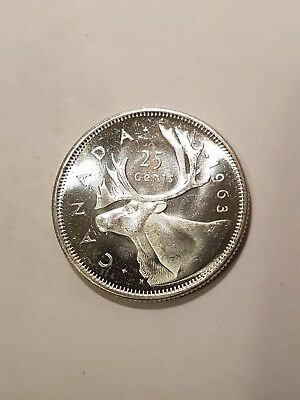 Canada 1963 25 Cents Silver Quarter Uncircutated High Grade