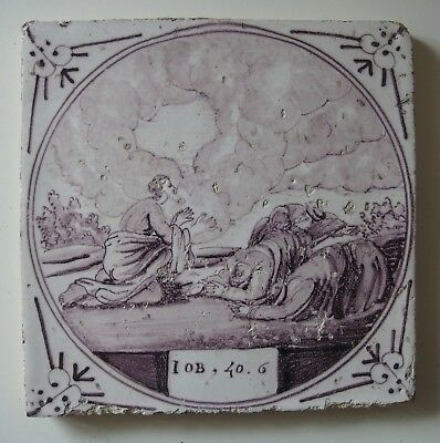 "19th Century DUTCH DELFT BIBLICAL TILE ""JOB 40:6 JOB PRAYS FOR HIS 3 FRIENDS"""