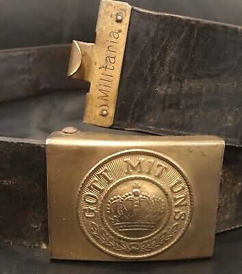 Imperial German, Mid-WW1 Enlisted Man's Belt & Muted Buckle, Kingdom of Prussia