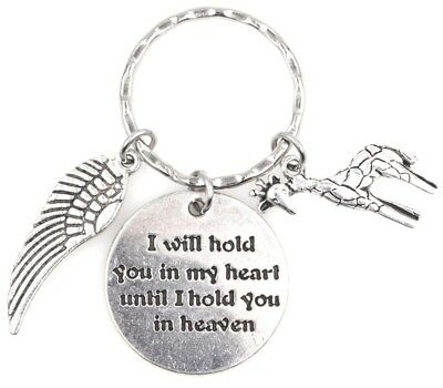I Will Hold You in My Heart Until I Hold You in Heaven Wing Giraffe Keychain
