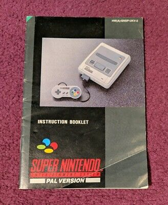 MANUAL for Super Nintendo Entertainment System/SNES Console Instruction Booklet