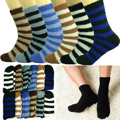3 Pairs Soft Cozy Fuzzy Socks For Mens Winter Warm Striped Home Slipper