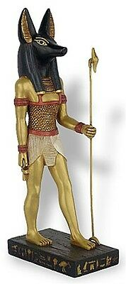 Egyptian Anubis Jackal God Holding Staff Antique Looking Underworld Museum