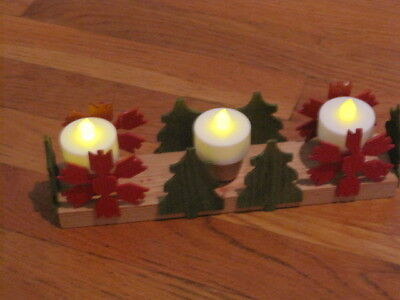 """Swedish 3 Candle Holder Christmas Folk Art Wooden Trees Snowflake Red Green 9.5"""""""