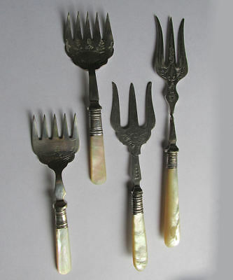 4 Antique English Serving Forks with Mother of Pearl Handles & Engraving