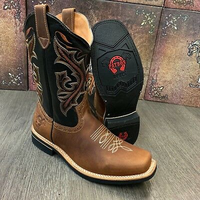 Men's Brown Work Boots Western Cowboy Square Toe Real Leather Botas Saddle