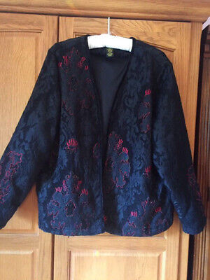Elegant Holiday Jacket 1X Black Beaded, Red Embroidered Party, Formal, Cruise