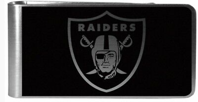 Oakland Raiders Football Team Logo NFL Black Steel Money Clip Packaged