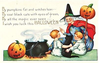 ANTIQUE PC HALLOWEEN WHITNEY Blue Red Green Witch Cat JOL Cauldron Kids