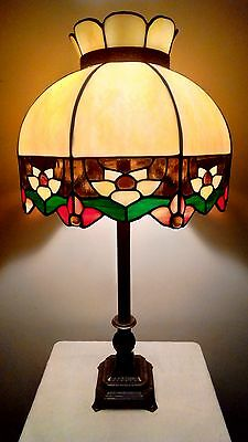 Vintage Sunshine Blooms Bent Stained Glass Shade with Brennan Metal Base Lamp