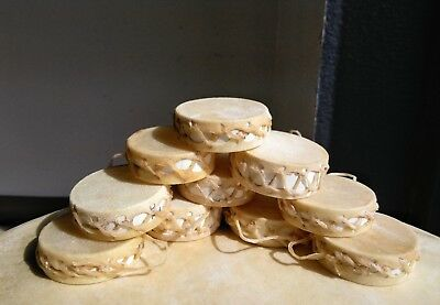 """Set Of 10 Rawhide Mini Drums,2"""" Real Hide,Wholesale,Hand,Crafts,Doll House 10-2"""