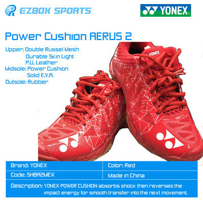 YONEX POWER CUSHION AERUS 2 Badminton Shoes SHBA2MEX (Red) Light and Ventilated