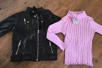 Brand New Girls Size 4 Pumpkin Patch Jumper & Cotton On Kids Mock Leather Jacket