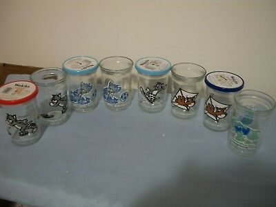 8 Vintage 1990's Welch's GLASS JELLY JARS TOM AND JERRY
