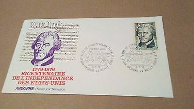 ANDORRA  1976 US BICENTENNIAL FIRST DAY COVER  99 cents
