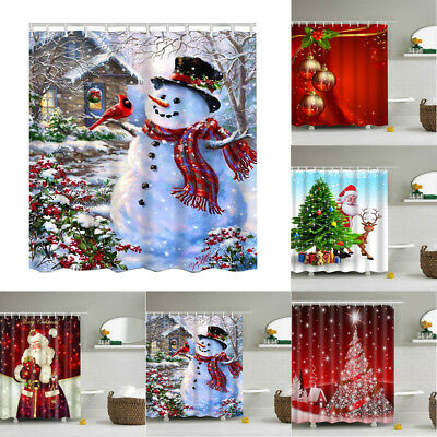 Shower Curtain Waterproof Polyester Fabric Christmas Home Bath Decor & 12 Hooks