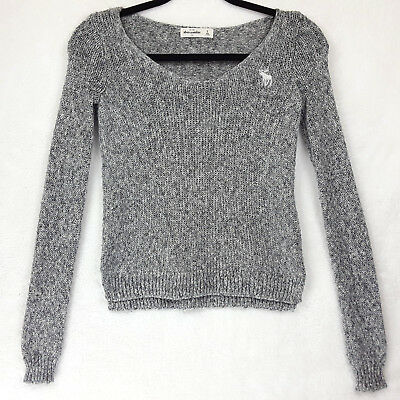 Abercrombie Girls Size Small Gray Silver Pullover Sweater Crochet Scoop Neck