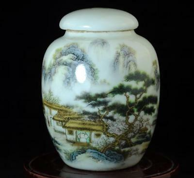Chinese Old Hand-Made Famille-Rose Porcelain Hand Painted Landscape Tea Pot B01
