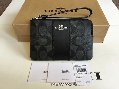 Authentic Coach Signature PVC Leather Smoke/Black Corner Zip Wristlet F58035.