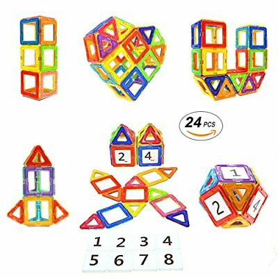 24Pcs Magnetic Blocks STEM Educational Toys Magnet Building Block Tiles for Kids