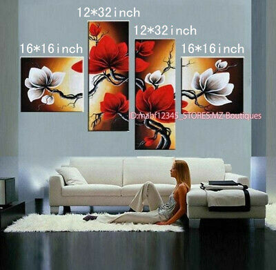 YH653 4pcs Hand painted Oil Canvas Wall Art home Decor abstract flowers NO Frame
