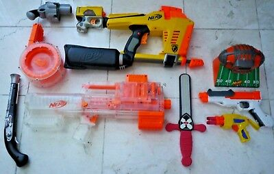 NERF War Party Gun Lot Magstrike Round Drum Clip 35 Shot Dart DEPLOY CS-6 pistol