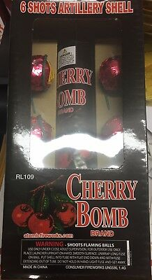 FIREWORKS LABELS (cherry Bomb ) ARTILLERY SHELL 1 3/4 inch W, tube Label