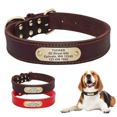 Personalized Genuine Leather Dog Collars Name ID Collar Tags Free Engraved S M L