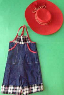 """1940s Doll Overalls Red Felt Hat 11"""" Shirley Temple Rebecca of Sunnybrook Farms"""