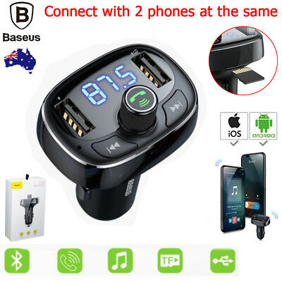 Wireless Car Bluetooth FM Transmitter MP3 Radio Adapter Car Kit Dual USB Charger