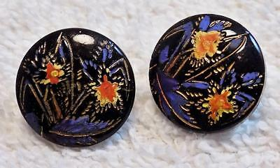 Lot of (2) Two Antique Black Glass Buttons Flowers Gold Blue Red Iris