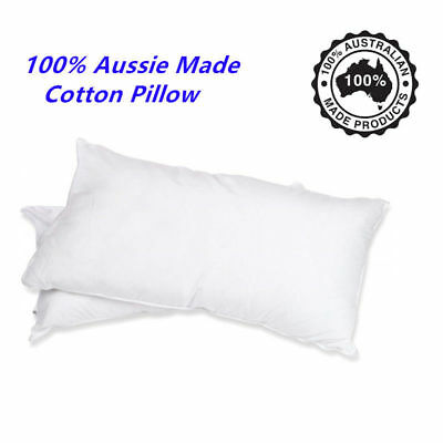 100% Australian Made Cotton Filled Bed Pillow Aussie Cotton Cover Hotel Bedroom
