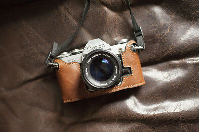 Handmade Genuine Real Leather Half Camera Case Bag Cover for Canon AE-1P Handle