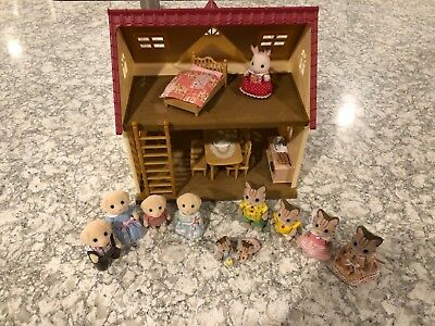 Calico Critters Huge Lot! Cozy Cottage, Yellow Lab & Sandy Cat Families & Twins!