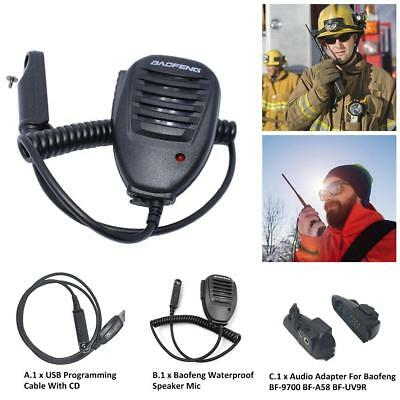 Waterproof PTT Speaker Mic / USB Programming Cable with CD Driver For BAOFENG